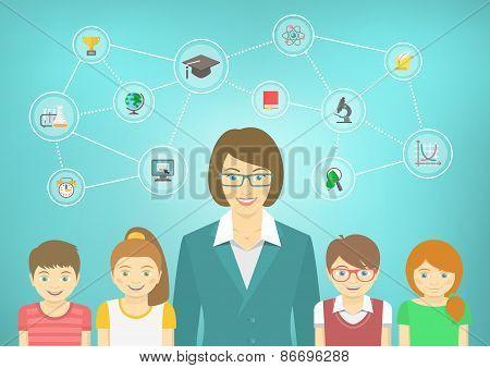 Modern Woman Teacher And Kids