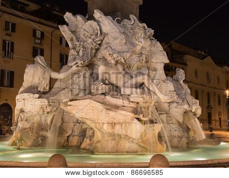 Fountain Of The Four Rivers At Piazza Navona Rome