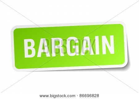 Bargain Green Square Sticker On White Background