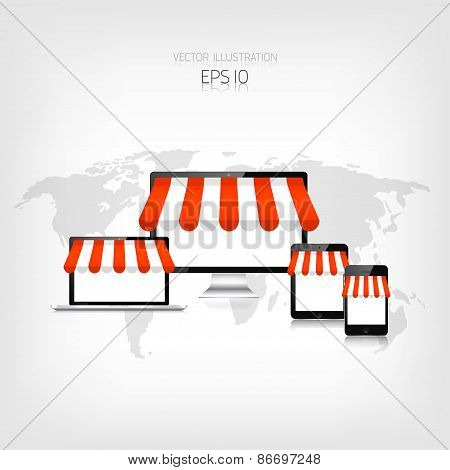 Internet shopping concept. Realistic tablet, smartphone, laptop and monitor. E-commerce. Online stor