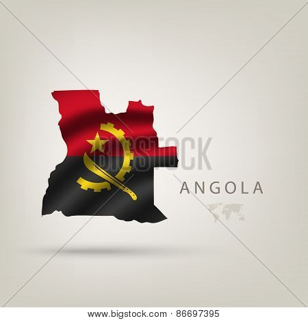 Flag Of Angola As A Country With A Shadow