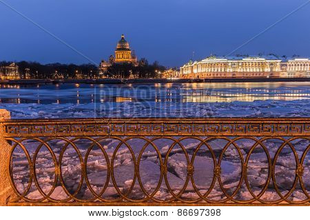 Neva embankment, evening, St. Petersburg