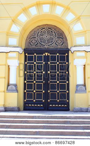 Door Of Old Christian Cathedral Temple Of Saint Vladimir In Kyiv, Ukraine