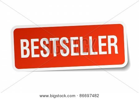 Bestseller Red Square Sticker Isolated On White