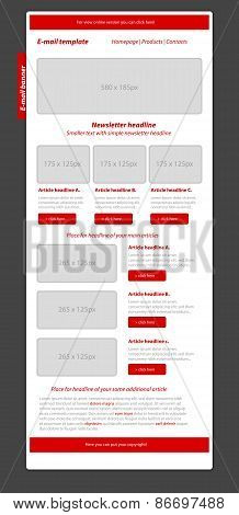Professional Business Blue Newsletter Red Template