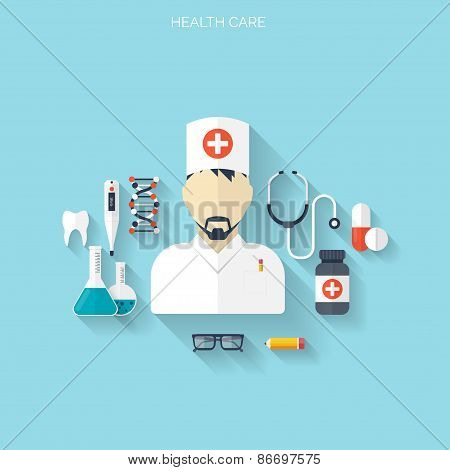Flat health care and medical research background. Healthcare system concept. Medicine and chemical e