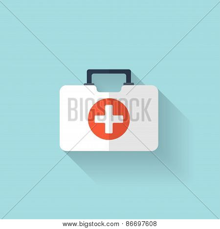 First aid kit flat icon. Health care.