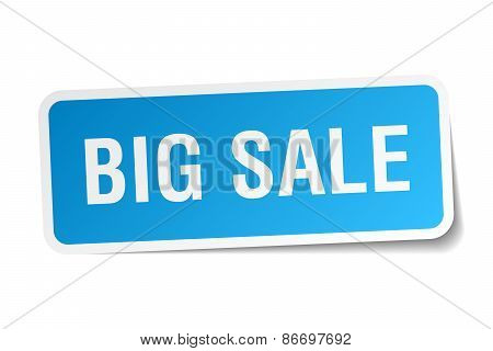 Big Sale Blue Square Sticker Isolated On White