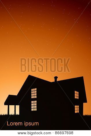illustration of house with windows black against the sunset