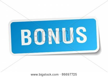 Bonus Blue Square Sticker Isolated On White