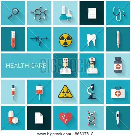 Flat health care and medical research icon set. Healthcare system concept. Medicine and chemical eng