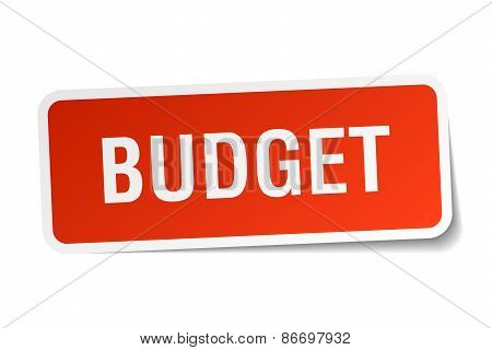 Budget Red Square Sticker Isolated On White