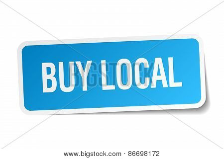 Buy Local Blue Square Sticker Isolated On White