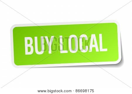 Buy Local Green Square Sticker On White Background