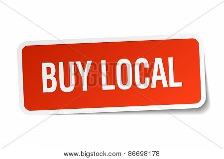 Buy Local Red Square Sticker Isolated On White
