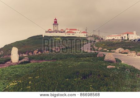 Portugal. Cabo da Roca and the lighthouse over Atlantic Ocean
