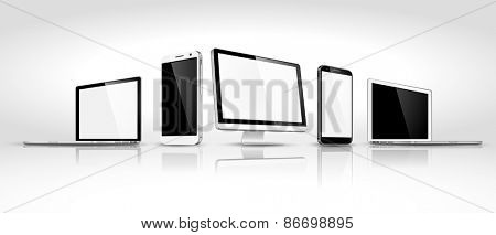 Design of modern devices isometric. Vector illustration