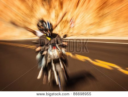 Abstract photo of motorbike riders with raised up hands, extreme lifestyle, slow motion, moto touring, speed transport, race competition, freedom concept