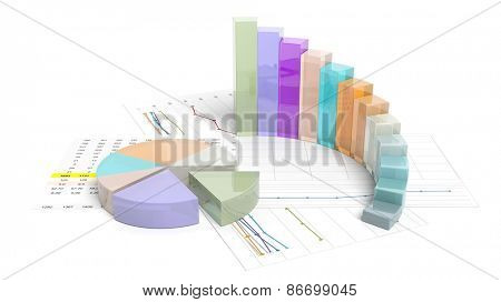Colorful business pie and bar chart, isolated on white