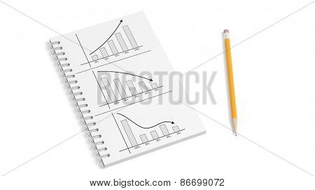 Business paper notepad with info charts and pencil isolated