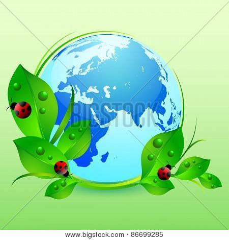 Postcard On April 22 - Earth Day. Globe With Green Leaves And Ladybugs