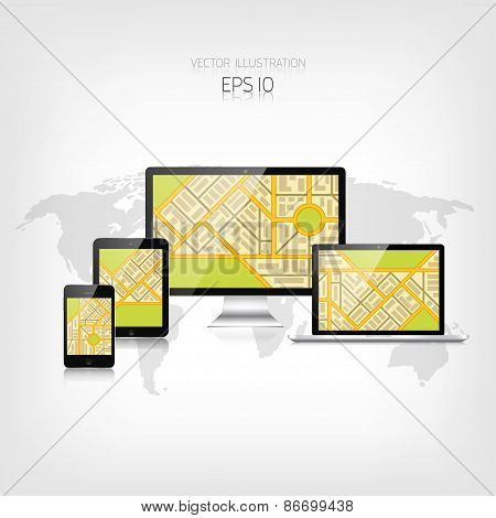 Navigation background with monitor, laptop, tablet, smartphone and map.Responsive web design. Adapti