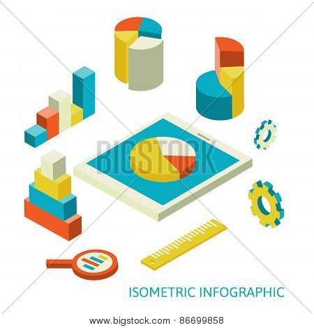 isometric business finance analytics, chart graphic