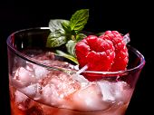 pic of mint-green  - Cold red drink  with raspberry and green mint leaf - JPG