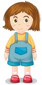 stock photo of jumpsuits  - Close up young girl wearing jumpsuit - JPG