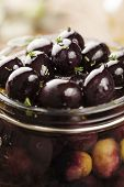 picture of kalamata olives  - jar with pickled kalamata olives - JPG