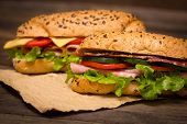 picture of tomato sandwich  - Delicious sandwiches with ham - JPG