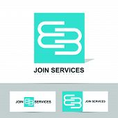stock photo of joining  - Abstract business logo with join or joining concept design - JPG