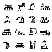 foto of manufacturing  - Production line product manufacturing and quality control icons black set isolated vector illustration - JPG