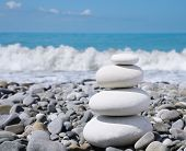 stock photo of zen  - balance white stones zen - JPG