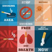 picture of  habits  - Stop smoking unhealthy habit flyers mini poster set isolated vector illustration - JPG
