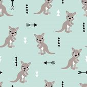 stock photo of kangaroo  - Seamless kids kangaroo illustration geometric arrows australian background pattern in vector - JPG