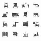 picture of logistics  - Warehouse icons black set with transport logistic delivery chain symbols isolated vector illustration - JPG