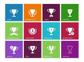 stock photo of trophy  - Trophy cup icons on color background - JPG