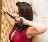 ������, ������: Pretty Young Woman Biting A Leather Whip