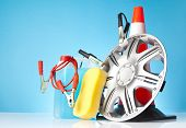 stock photo of alloy  - alloy wheel and car accessories on blue background - JPG