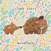 foto of mammoth  - Colorful floral card with cartoon mammoth - JPG