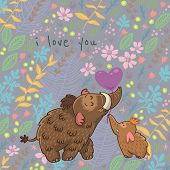 stock photo of mammoth  - Colorful floral card with cartoon mammoth - JPG