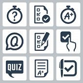 picture of quiz  - Quiz related vector icon set over white - JPG