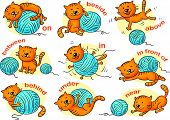 picture of domestic cat  - Cartoon cat in different poses to illustrate the prepositions of place - JPG