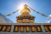 foto of tibetan  - tibetan gompa in sunbeam light - JPG