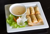 picture of chinese food  - Fried Chinese Traditional Spring egg rolls food  - JPG
