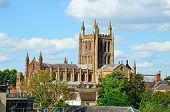 pic of hereford  - View of the Cathedral seen from the Wye Bridge Hereford Herefordshire England UK Western Europe - JPG