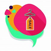picture of clothes hanger  - Shopping Clothes Hanger Flat Icon With Long Shadow - JPG