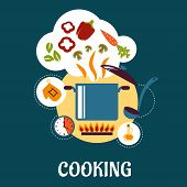 image of ladle  - Cooking flat infographic depicting vegetable soup preparation with pan on fire - JPG