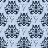 pic of wavy  - Persian floral motif seamless pattern in shades of blue color with elegant paisley styled flowers on long wavy stems for oriental textile design - JPG